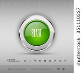chrome glossy button with green ... | Shutterstock .eps vector #351110237