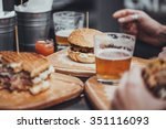 delicious pub food. burgers and ... | Shutterstock . vector #351116093