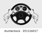 car. hand drawn sketch driving... | Shutterstock .eps vector #351126017