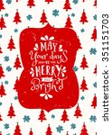 typographic style christmas... | Shutterstock .eps vector #351151703