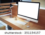 blank white computer screen... | Shutterstock . vector #351154157