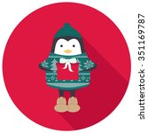 penguin in green sweater and... | Shutterstock .eps vector #351169787