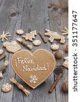 heart shaped christmas... | Shutterstock . vector #351177647