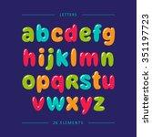 Cartoon Bubble Font. Colorful...