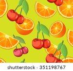 "pattern ""cherry and orange"".... | Shutterstock .eps vector #351198767"