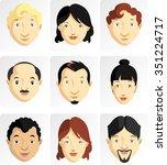cartoon faces variation of... | Shutterstock .eps vector #351224717