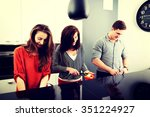 brother and sisters cooking...   Shutterstock . vector #351224927