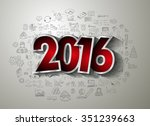 2016 happy new year and merry... | Shutterstock .eps vector #351239663
