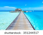 beach with water bungalows at...   Shutterstock . vector #351244517