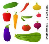 vegetables  isolated objects ... | Shutterstock .eps vector #351261383