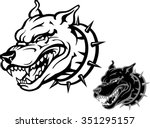 angry pitbull tough dog with... | Shutterstock .eps vector #351295157