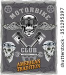 vintage motorcycle label  | Shutterstock .eps vector #351295397