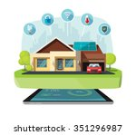 smart home modern future house... | Shutterstock .eps vector #351296987