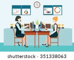 two business woman sitting at... | Shutterstock .eps vector #351338063