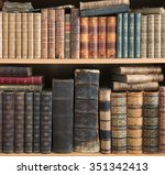 old books on wooden shelf. | Shutterstock . vector #351342413