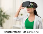 woman in virtual reality... | Shutterstock . vector #351348773