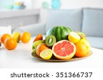 Fresh Fruits On Table In Livin...