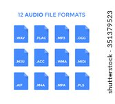 flat audio file type icons.... | Shutterstock .eps vector #351379523