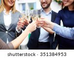 group of colleagues toasting... | Shutterstock . vector #351384953
