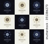 set luxury logos template... | Shutterstock .eps vector #351386273