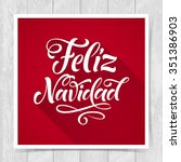 merry christmas text in spanish ... | Shutterstock .eps vector #351386903