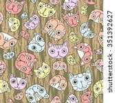 seamless pattern. funny cute... | Shutterstock .eps vector #351392627
