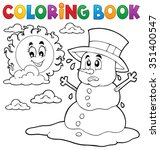 coloring book melting snowman 1 ... | Shutterstock .eps vector #351400547