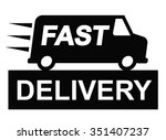 vector fast delivery truck icon ... | Shutterstock .eps vector #351407237
