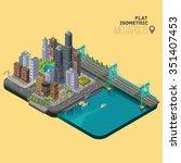 isometric city megapolis... | Shutterstock .eps vector #351407453