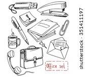 office set  hand drawn design... | Shutterstock .eps vector #351411197