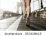 female runner on brooklyn... | Shutterstock . vector #351418613