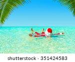 santa claus take pleasure... | Shutterstock . vector #351424583