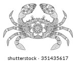 hand drawn zentangle crab for... | Shutterstock .eps vector #351435617