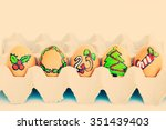 christmas egg with faces drawn... | Shutterstock . vector #351439403