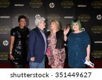 Small photo of LOS ANGELES - DEC 14: Mellody Hobson, George Lucas, daughters at the Star Wars: The Force Awakens World Premiere at the Hollywood & Highland on December 14, 2015 in Los Angeles, CA