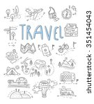 travel  camping icons in doodle ... | Shutterstock .eps vector #351454043