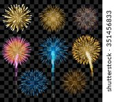 set of colorful fireworks  eps... | Shutterstock .eps vector #351456833