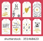 set of 8 printable hand drawn... | Shutterstock .eps vector #351468623