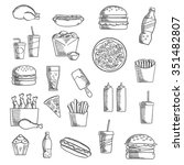 takeaway and fast food sketched ... | Shutterstock .eps vector #351482807