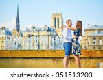 romantic couple having fun... | Shutterstock . vector #351513203