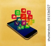 vintage colorful application... | Shutterstock . vector #351536027