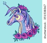 boho unicorn. hand drawn vector ... | Shutterstock .eps vector #351538367