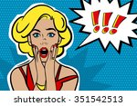 pop art surprised blond woman... | Shutterstock .eps vector #351542513