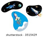 three spaceships  the shuttle ...   Shutterstock .eps vector #3515429