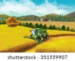 farm rural landscape  vector... | Shutterstock .eps vector #351559907