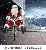 bike and santa claus  | Shutterstock . vector #351561323