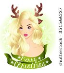 christmas blonde girl wearing... | Shutterstock .eps vector #351566237