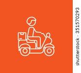 man carrying goods on bike line ...   Shutterstock .eps vector #351570293