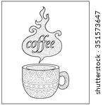 hot coffee cup doodle. hand...   Shutterstock .eps vector #351573647