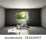 concrete room with hole in wall ... | Shutterstock . vector #351626957